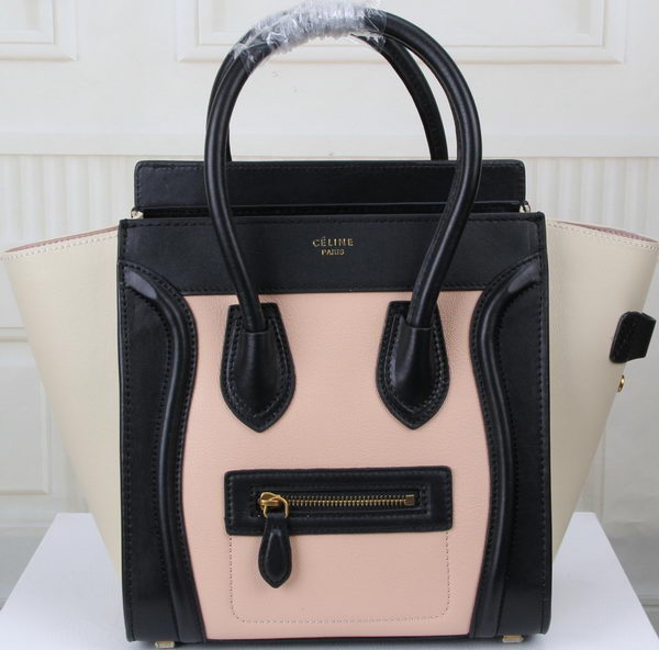 Celine Luggage Micro Boston Bag Original Leather CT3308M Pink&Black&OffWhite