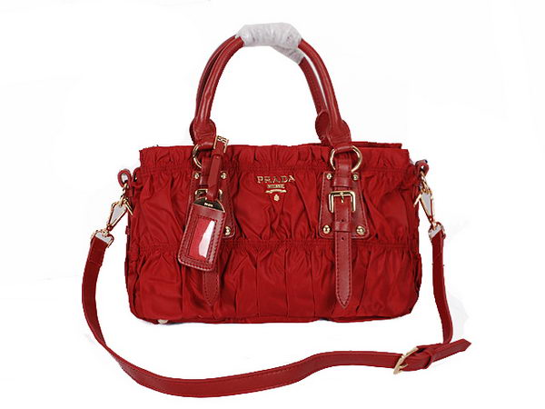 Prada Gaufre Fabric Top Handle Bag BR1407 Burgundy