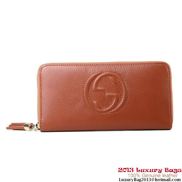 Gucci Interlocking G Zip Around Wallet 282413 Brown