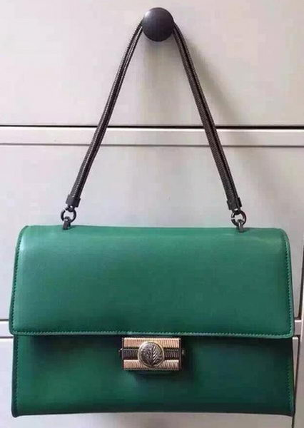 BVLGARI Flap Shoulder Bag Original Leather BG5978 Green