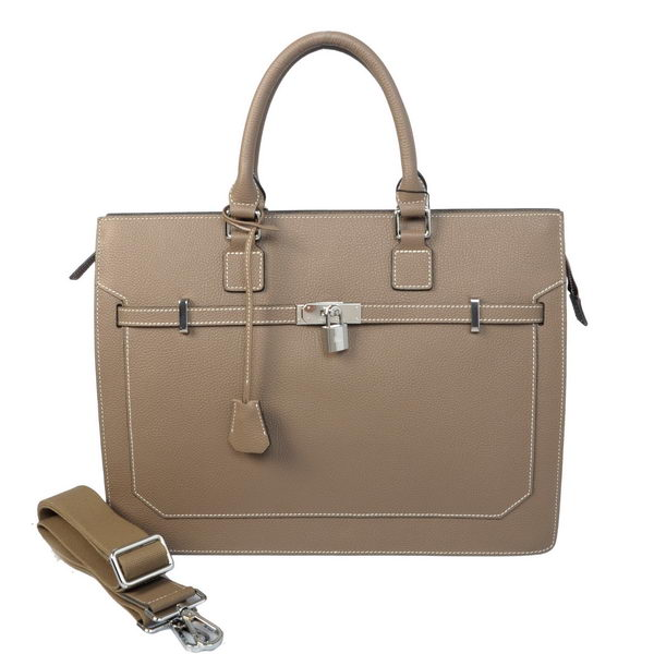 Hermes Mens Kelly Briefcase Calf Leather H5229 Gray