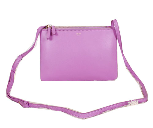 Celine Trio Calfskin Leather Shoulder Bag C27002 Lavender