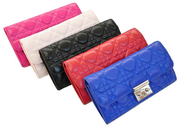 Dior D2383 Flap Wallet in Sheepskin Leahter