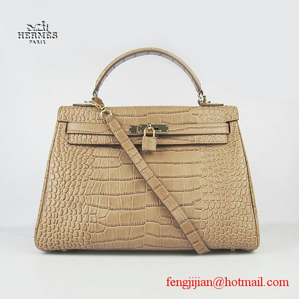 Hermes Kelly 32cm Crocodile Veins Leather Bag Light Coffee 6108 Gold Hardware