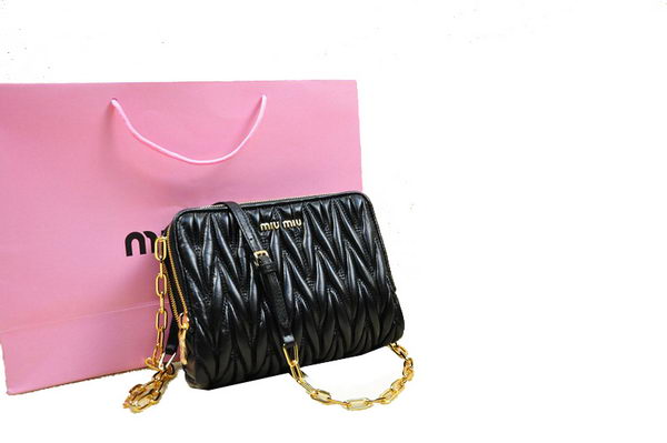 miu miu Matelasse Leather mini Bag RT0532 Black
