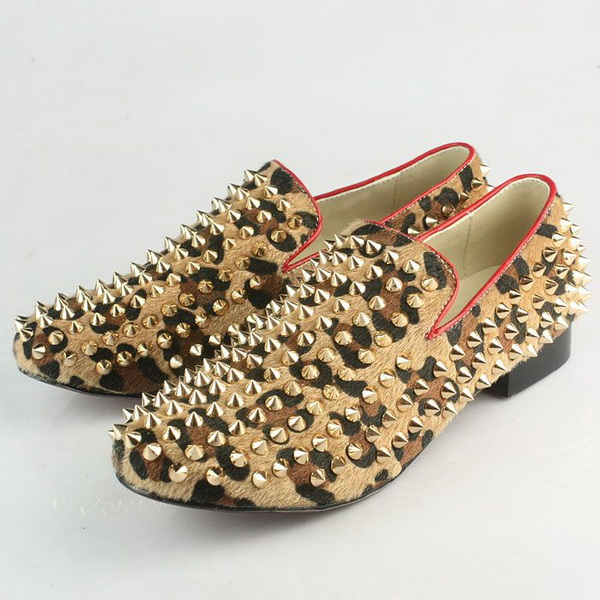 Christian Louboutin Leopard Horsehair Rollerball Loafers Shoes CL630 Brown