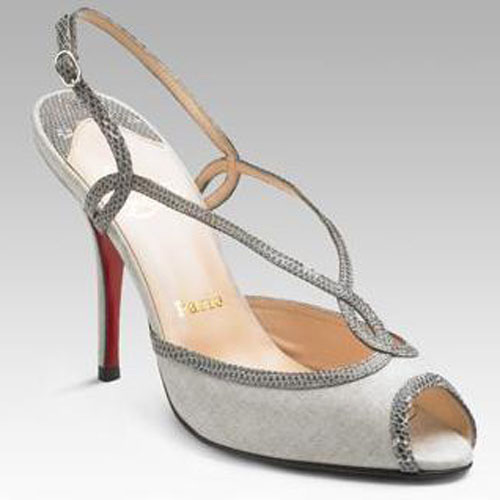 Christian Louboutin gray peep toe sandal with red sole