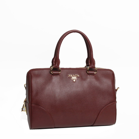 PRADA Grainy Leather Two Handle Bag BL0822 Burgundy