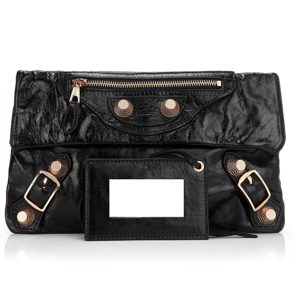 buy Cheap Balenciaga Eggplant 330 Flap Clutch Bag Black Gold