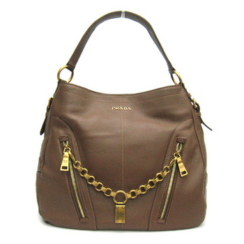 Prada Leather Hobo Bag BR4216 Coffee