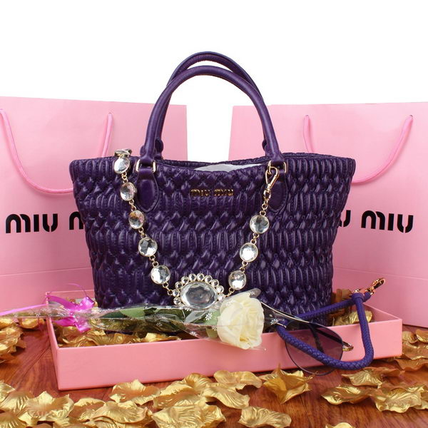 miu miu RL0896 Purple Cloquet Nappa Leather Bucket Bag