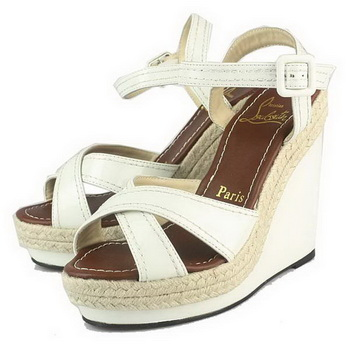 Christian Louboutin Almeria Espadrille Wedge Sandals White