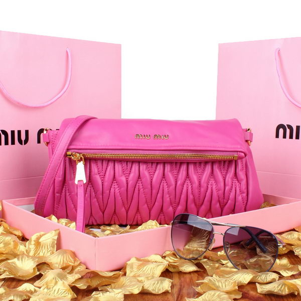 miu miu Pressed Small Matelasse Nappa Lamb leather Clutch RP0960 Rose