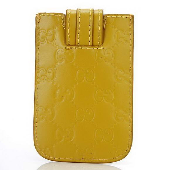 Gucci Embossed Leather iphone Case 210188 Yellow