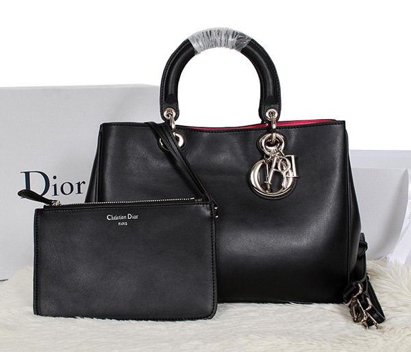 Dior Diorissimo Bag in Smooth Calfskin Leather D0902 Black