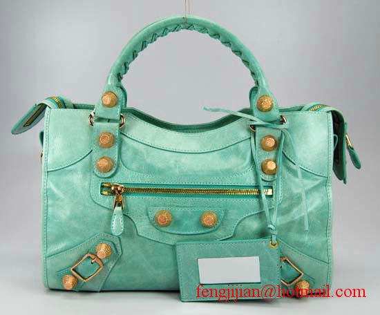 Balenciaga Giant City Gold Studs Handbag 084332B-Green