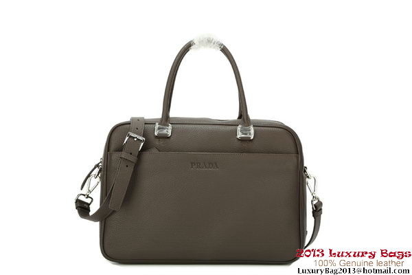 Prada Original Grained Calf Leather Travel Bag VA1011 Brown