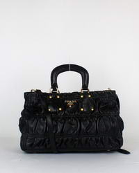 Prada Tote Bags Gaufre Lambskin Leather 8712 Black