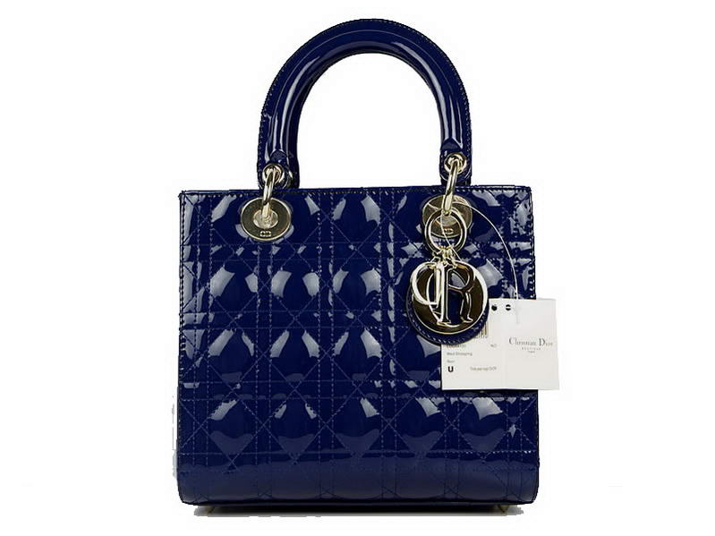 Christian Dior Patent Bags Lady Dior Bag CAL44550 Blue Golden