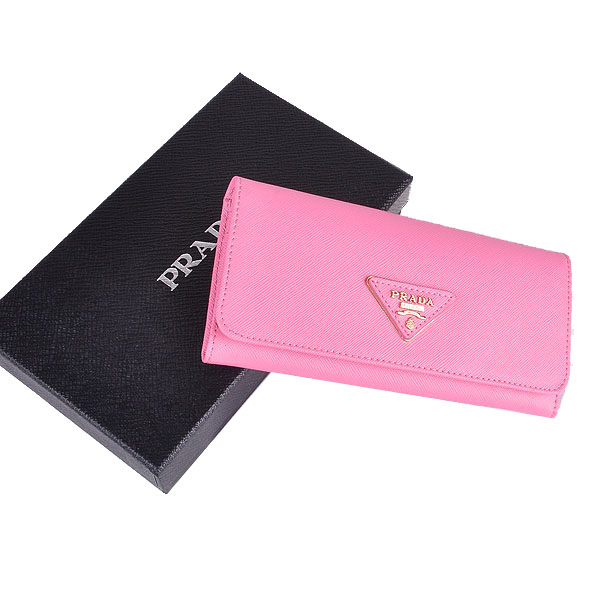 Prada Saffiano Calf Leather Wallet 1M1132 - Pink