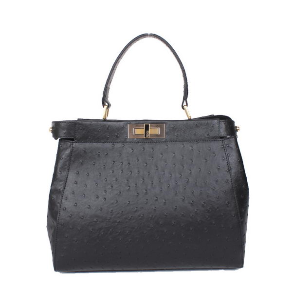 Fendi Icoic Peekaboo Bag Original Ostrich Leather F8244 Black