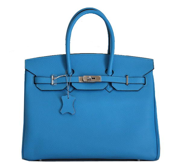 Hermes Birkin 35CM Tote Bag Blue Clemence Leather H6089 Silver