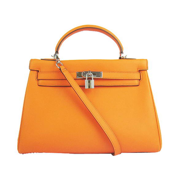 Hermes Kelly 32cm Bags Togo Leather 6108 Orange Silver