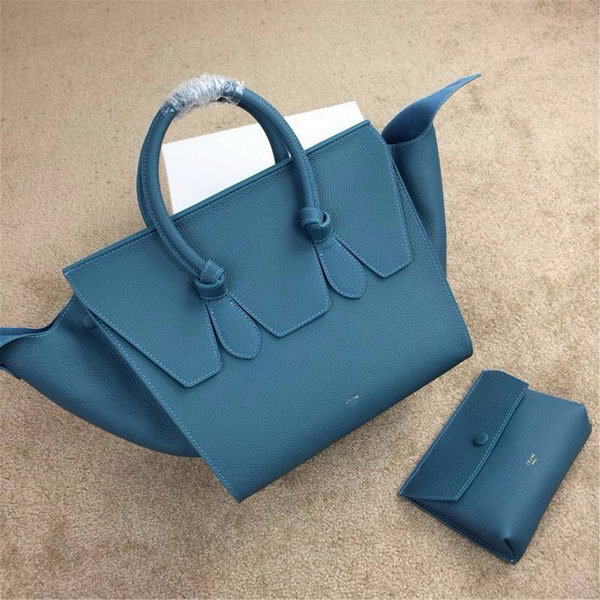 Celine Tie Top Handle Bags Grain Leather 98314 Blue