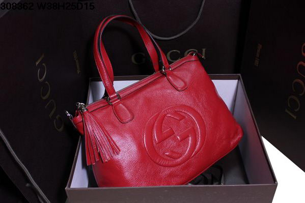 Gucci Soho 308362 Red Calf Leather Top Handle Bag