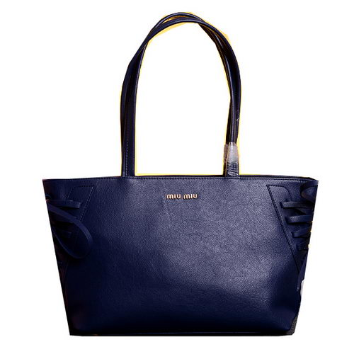 miu miu Grainy Leather Tote Bag 86333 Royal