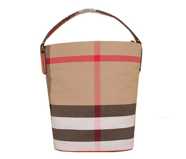 Burberry Medium Brit Check Hobo Bag 7700 Red