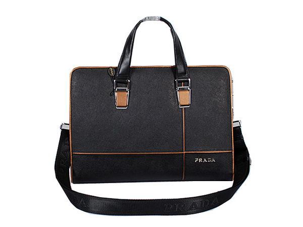 Prada Saffiano Calf Leather Briefcase 95526 Black