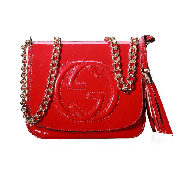 Gucci Soho Patent Leather Chain Shoulder Bag 323190 Red