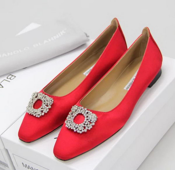 Manolo Blahnik Ballerina Satin Canvas MB095 Red