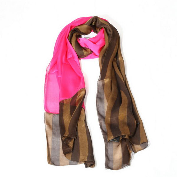 Fendi Scarves Silk WJFD04 Rose&Brown