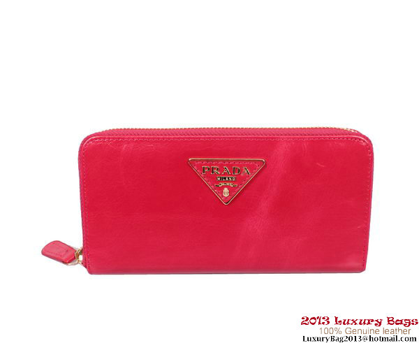 Prada Iridescent Calf Leather Wallet PR05 Rose