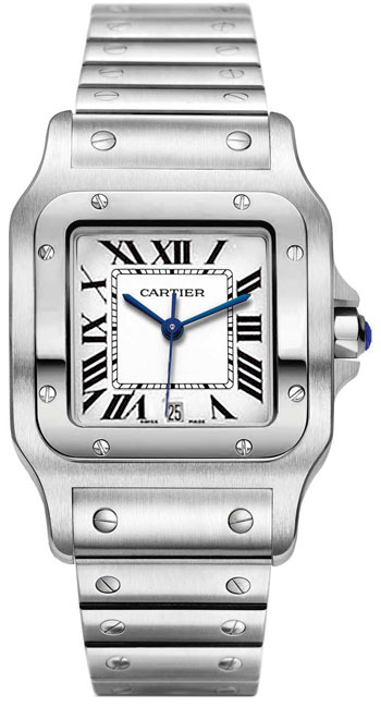 Cartier Santos Stainless Steel Mens Swiss Quartz Wristwatch-W20060D6