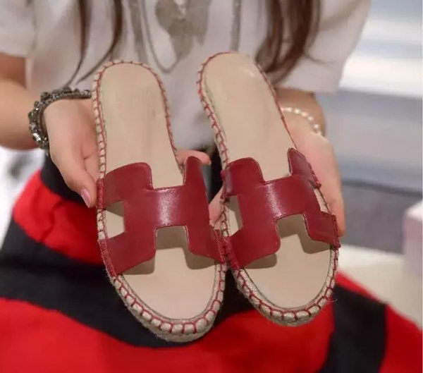 Hermes Slipper Sheepskin Leather HO0413 Red