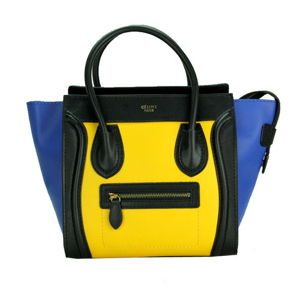 Celine Luggage Micro Bag Smooth Leather CL88023 Yellow&Black&Blue