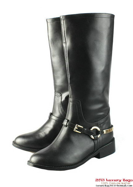Dior Sheepskin Leather Knee Boots D0121 Black