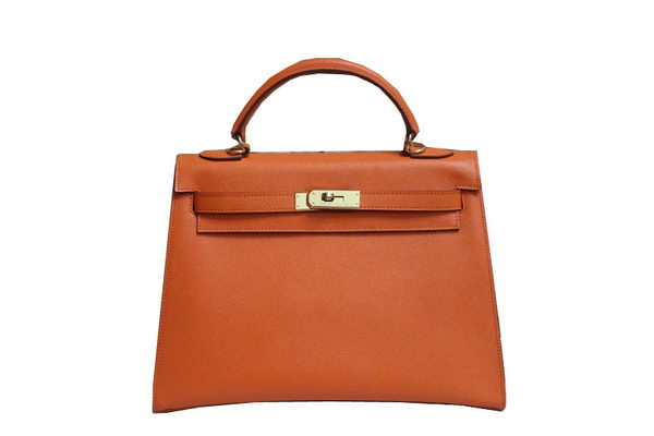 Hermes Kelly 32cm Shoulder Bag Orange Saffiano Leather K32 Gold