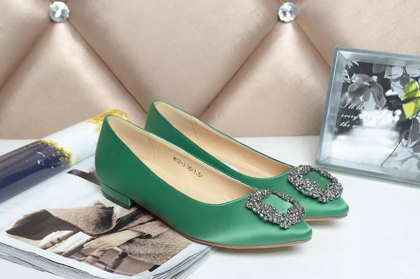 Manolo Blahnik Ballerina Satin Canvas MB077 Green