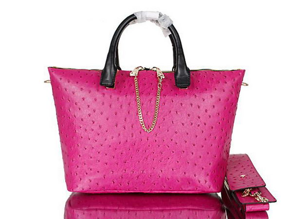Chloe Baylee Small Ostrich Leather Tote Bag C0168 Rose