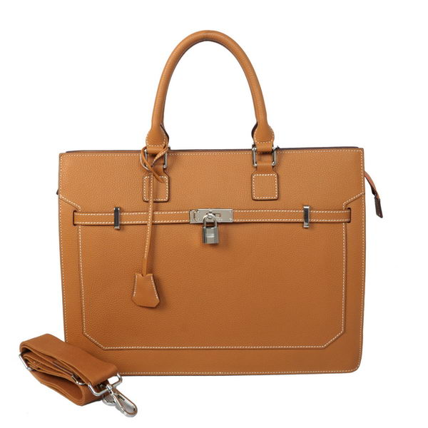 Hermes Mens Kelly Briefcase Calf Leather H5229 Camel
