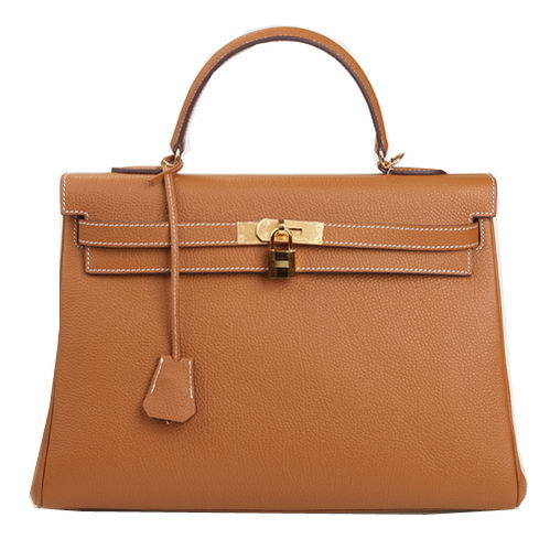 Hermes Kelly 35cm Top Handle Bag Wheat Original Leather Gold