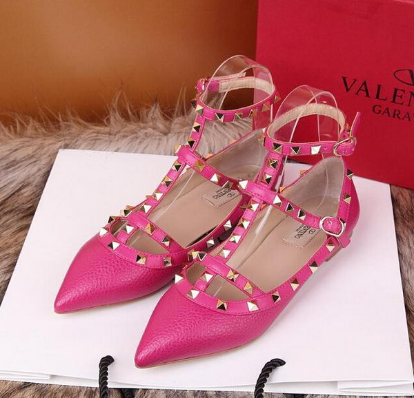 Valentino Litchi Leather Rivet Sandal VT221YZM Rose