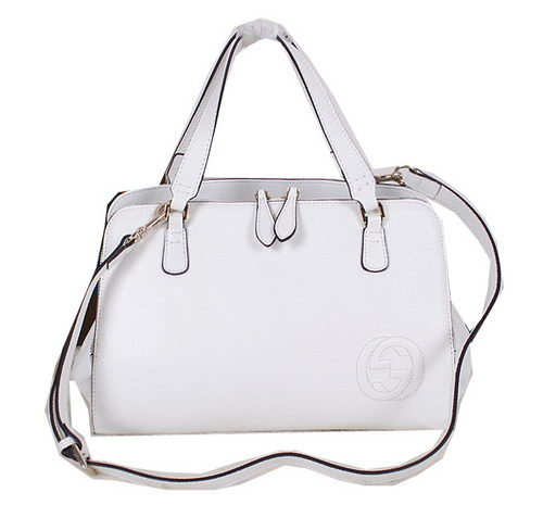Gucci Label Leather Tote Bag 338971 White