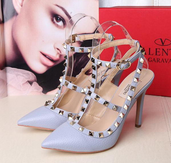Valentino Litchi Leather Rivet 100mm Sandal VT263YZM SkyBlue