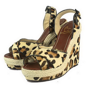 Christian Louboutin Leopard Print Wedge Sandals