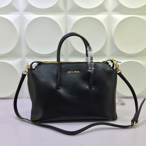 miu miu Madras Goat Leather Tote Bag RL1062 Black
